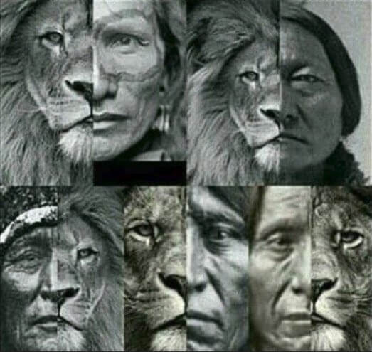 Native american faces like lions